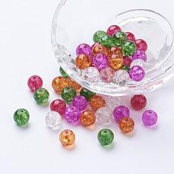 Perles de verre craquelé peintes, noël mélange, rond, couleur mixte, 8~8.5x7.5~8mm, trou: 1 mm; environ 100 PCs / sachet (DGLA-X0006-8mm-09)