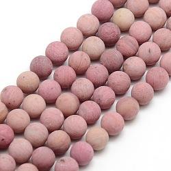 """Chapelets de perles rondes rhodochrosite mate naturelle, 8mm, trou: 1mm; environ 47~49 pcs/chapelet, 14.9~15.6""""(G-M064-8mm-04)"""