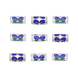 perles en alliage d'alliage de style chinois, colonne, plaqué argent, coloré, 12.5x6 mm, trou: 2.5 mm(X-ENAM-L015-17A-S)