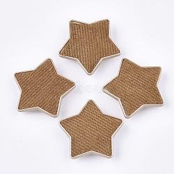 Flocky ccb boutons en plastique, 1-trou, étoiles, chocolat, 38x40x9mm, Trou: 3x4.5mm(BUTT-T003-09C)