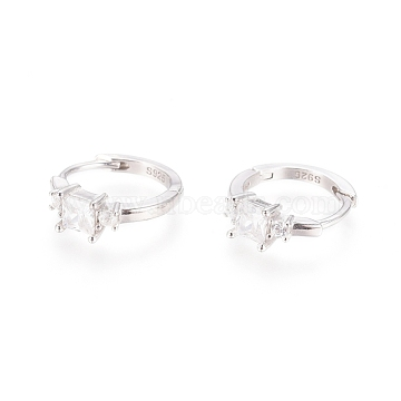 925 Sterling Silver Hoop Earring, with Carved 925, Rectangle, Platinum, 12x4mm, Pin: 0.6mm(STER-I018-09P)