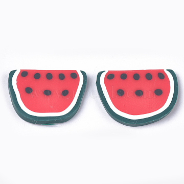 Handmade Polymer Clay Cabochons, Watermelon, Red, 17~18x23~24x2~3mm(CLAY-S091-47)