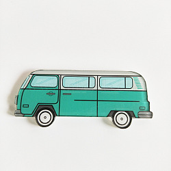 Acrylic Safety Brooches, with Iron Pin, Bus, Medium Sea Green, 22x53x8.5mm, Pin: 0.7mm(X-JEWB-WH0001-27)