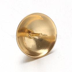 placage sous vide 304 tasse en acier inoxydable perle peg bails pin pendentifs, pour la moitié de perles percées, or, 8 mm, trou: 1.5 mm; broches: 0.7 mm(STAS-F094-03C-G)