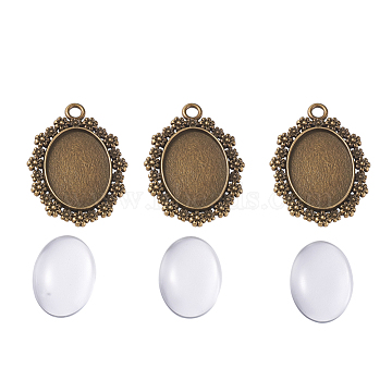 DIY Pendant Making, with Alloy Pendant Cabochon Settings and Transparent Clear Oval Glass Cabochons, Antique Bronze, 40x29x3mm, Hole: 3mm(DIY-X0098-90AB)