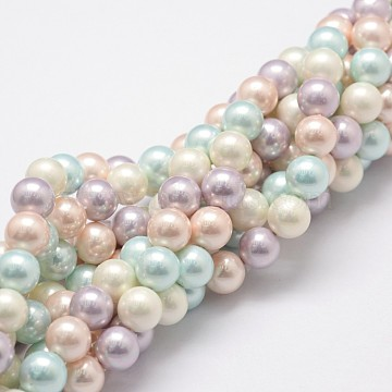 Polished Shell Pearl Bead Strands, Grade A, Round, Mixed Color, 8mm, Hole: 1mm, about 24pcs/strand, 8 inches(20.32cm)(BSHE-F013-07A)