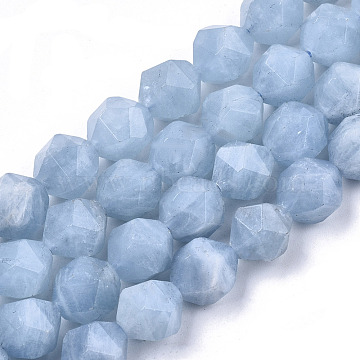 Natural Aquamarine Beads Strands, Star Cut Round Beads, Faceted, Grade AAA, 10x10x8~9mm, Hole: 0.9mm; about 37~38pcs/strand, 14.57 inches~14.96 inches(37~38cm)(G-N328-027)