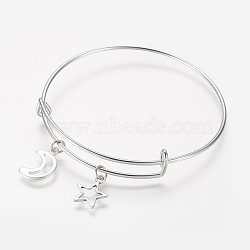 Adjustable Iron Charm Bangles, with Tibetan Style Alloy Charms, Moon, Star, Antique Silver & Platinum, 2-1/2 inches(63mm)(X-BJEW-JB03150)