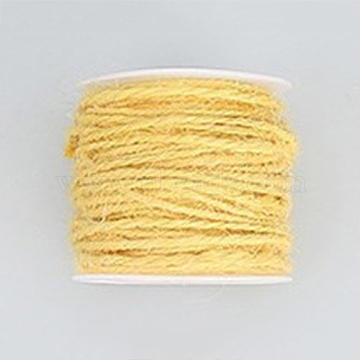 Jute Cord, Jute String, Jute Twine, for Jewelry Making, Light Yellow, 2mm, about 54.68 yards(50m)/roll(OCOR-WH0002-A-02)