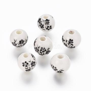 Handmade Printed Porcelain Beads, Round, Black, 10mm, Hole: 3mm(X-PORC-Q201-10mm-5)