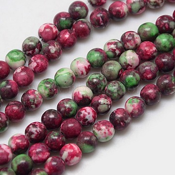 6mm DarkRed Round Fossil Beads