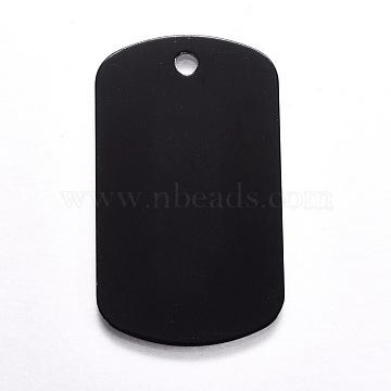 Aluminium Pendants, Pet Tag, Rectangle, Black, 50x29x1mm, Hole: 3.5mm(ALUM-WH0007-03C)