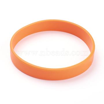 Blank Customized Wristbands Cord Bracelets, Orange, 2-3/8inches(60mm)(BJEW-XCP0002-01B)
