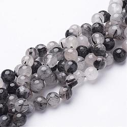 Natural Black Rutilated Quartz Beads Strands, Round, 8mm, Hole: 1mm, 23pcs/strand, 8inches