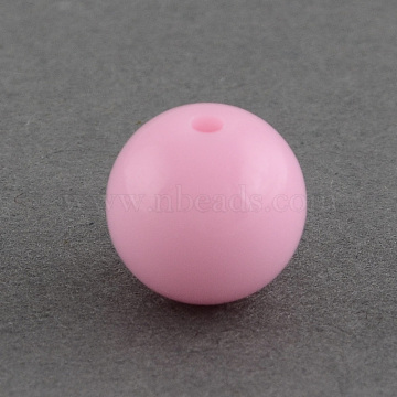 Solid Chunky Bubblegum Acrylic Ball Beads, Round, Pink, 8mm, Hole: 1.5mm(X-SACR-R835-8mm-11)