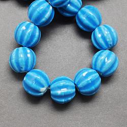 Perles en porcelaine manuelles, porcelaine émaillée lumineux, citrouille, dodgerblue, 13x12mm, Trou: 2mm(PORC-Q204-4)