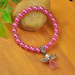Bracelets d'ange belle avec robe de mariée pour les enfants, bracelets carnaval extensibles, avec verre perles de nacre et de perles de style tibétain, hotpink, 45mm(BJEW-JB00727-07)