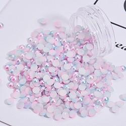 Cabochons en plastique ABS d'imitation nacre, accessoires nail art de décoration, de couleur plaquée ab , demi-rond, colorées, 4x2 mm; environ 1 g / boîte(MRMJ-T021-4mm-16)