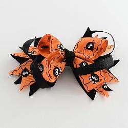 Halloween gros-grain bowknot alligator pinces à cheveux, avec des clips de fer, platine, orange foncé, 85x120mm(PHAR-R165-11)