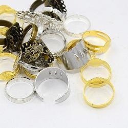 Réglages réglables de bague de doigt en laiton de style mixte, couleur mixte, 16~19 mm; plateau: 8~32x8~24 mm(X-KK-X0075)