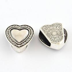 Tibetan Style Heart Alloy Slide Charms, Cadmium Free & Lead Free, Antique Silver, 16x15.5x5.5mm, Hole: 11x3mm(X-TIBEB-Q064-43AS-NR)