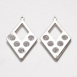 Iron Rhinestone Pendants, Hollow Rhombus, Platinum, 44.5x27x5mm, Hole: 1mm(IFIN-K025-03P)