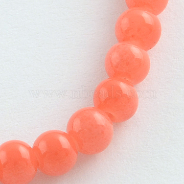 Natural White Jade Beads Strands, Dyed & Heated, Round, Tomato, 4mm, Hole: 0.5mm; about 100pcs/strand, 15.7inches(X-G-R270-24)