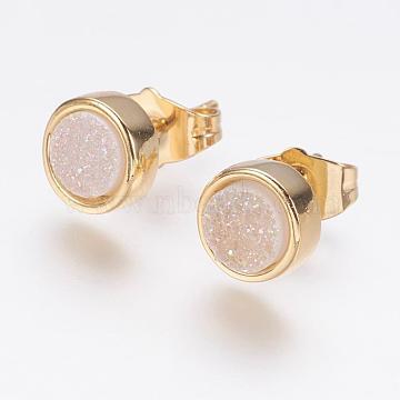 GhostWhite Natural Agate Stud Earrings