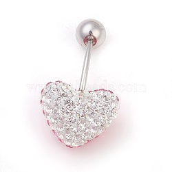 Austrian Crystal Belly Rings, Mother's Day Gifts Making, with 316 Stainless Steel and Polymer Clay, Heart, 209_Rose, Length: about 26mm long(X-SWAR-G027-209+001)