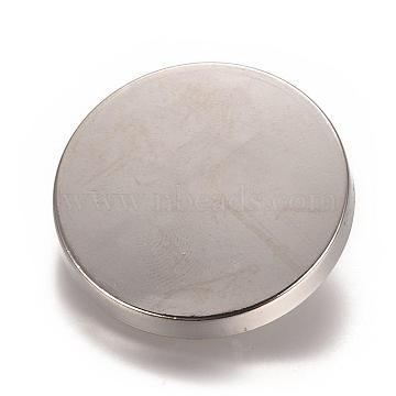 Alloy Shank Buttons, 1-Hole, Flat Round, Platinum, 30x7mm, Hole: 2mm(BUTT-D057-30mm-05P)