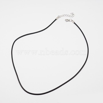 Round Leather Cord Necklaces Making, with 304 Stainless Steel Lobster Claw Clasps and Extender Chain, Black, 18.5 inches, 4mm(X-MAK-I005-4mm)