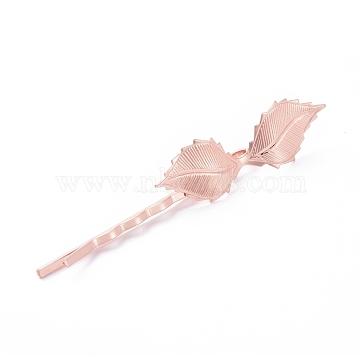 Épingles à cheveux en fer, avec les accessoires en laiton, feuille, Plaqué longue durée, or rose, 72x4.5 mm; feuille: 42x14 mm(IFIN-L035-04RG)