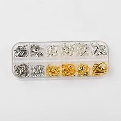 Fermoir pince de homard en alliage de zinc, couleur mixte, 12~21mm, trou: 6~12mm; 1.5~ 2pcs / boîte(PALLOY-X0024-B)