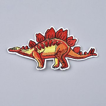 Computerized Embroidery Cloth Iron on/Sew on Patches, Costume Accessories, Stegosaurus/Dinosaur, Red, 54x98x1.5mm(DIY-L031-086)