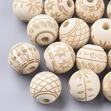 Unfinished Natural Wood European Beads, Large Hole Beads, Lead Free, Laser Engraved Pattern, Round with Pattern, Mixed Color, 15.5x14.5mm, Hole: 4mm(X-WOOD-T025-001-LF)