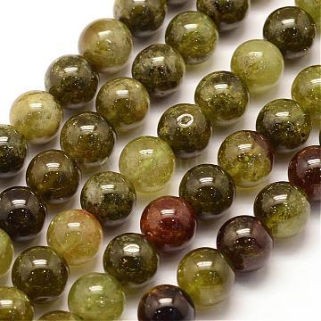 6mm Green Round Garnet Beads