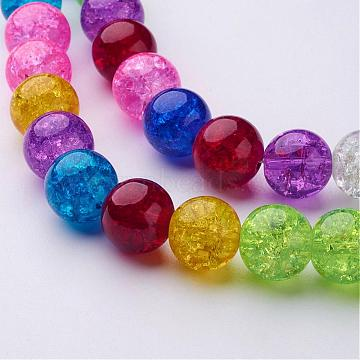 16 inches Mixed Color Round Crackle Glass Strands, 12mm in diameter, about 34pcs/strand, hole: about 1mm (X-GGM005)