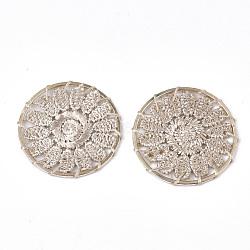 подвесные украшения из полиэстера, с железом выводы, плоские круглые с цветком, светлое золото, белье, 33x2 mm(FIND-S283-07G)