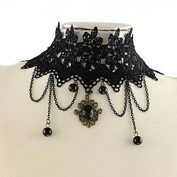 """Dentelle vintage choker de style gothique colliers avec chians de fer, perles en verre et des accessoires en alliage, noir, 11.2""""(X-NJEW-R227-61)"""