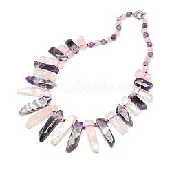 """Colliers de perles avec pierres précieuses naturelles, à ressort fermoirs à anneaux, quartz rose et améthyste, 22.8""""(NJEW-P083-06)"""