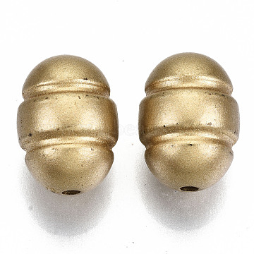 Opaque Spray Painted Acrylic Beads, Oval, Goldenrod, 20x15mm, Hole: 2.5mm; about 196pcs/500g(ACRP-N002-32)