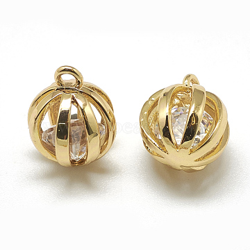 Real Gold Plated Clear Round Brass+Cubic Zirconia Charms