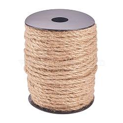 corde de chanvre, chaîne de chanvre, ficelle de chanvre, pour la fabrication de bijoux, tan, 4 mm; sur 50 m / rouleau(OCOR-WH0029-A02)