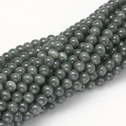 """Perles d'oeil de chat, rond, noir, 6mm, trou: 1mm; environ 66 pcs/chapelet, 15.5"""" / chapelet(X-CER33)"""