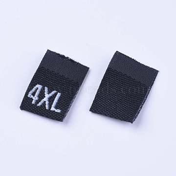 Clothing Size Labels(4XL), Garment Accessories, Size Tags, Black, 18x12.5x1mm, 200pcs/bag(FIND-WH0045-E02)