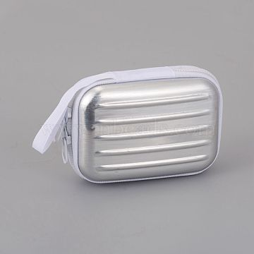 Tinplate Zipper Bag, Portable Coin Purse, for Business Card, Draw-bar box Shape, Silver, 70x100mm(CON-G005-A05)