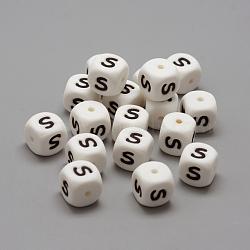 perles de silicone environnementales de qualité alimentaire, perles à mâcher pour les jouets de dentition, Diy soins infirmiers colliers faisant, style de lettre, cube, letter.s, 12x12x12 mm, trou: 2 mm(X-SIL-R001-S)