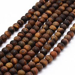 Frosted Natural Tiger Eye Beads Strands, Round, 6mm, Hole: 0.8mm; about 64pcs/strand, 15.1inches