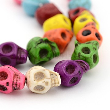 1 Strand Synthetic Turquoise Skull Beads Strands for Halloween Jewelry Making, Dyed, Mixed Color, 10x8x9mm, Hole: 1mm(X-TURQ-H037-2)