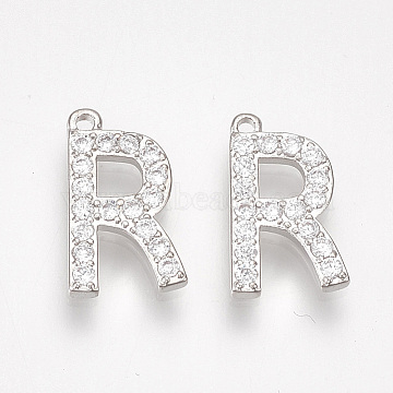 Platinum Clear Alphabet Alloy+Cubic Zirconia Charms